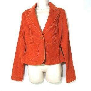 BKE Buckle Corduroy Blazer Jacket Size L Rust